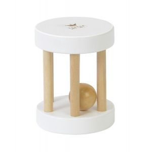 Wooden roll rattle_Wit